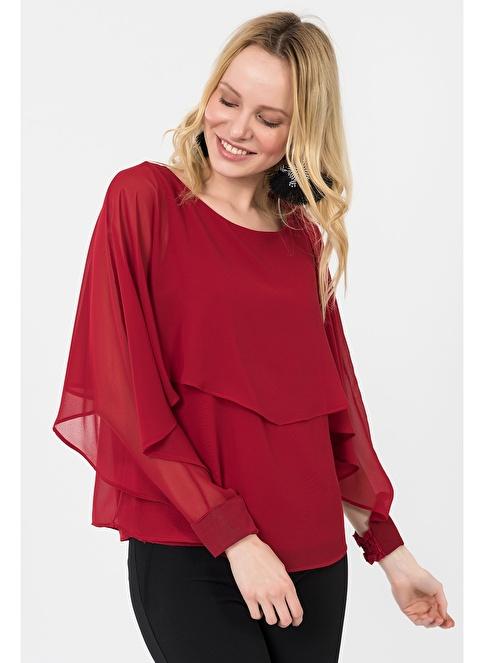 İroni Yarasa Kol Şifon Bluz Kırmızı